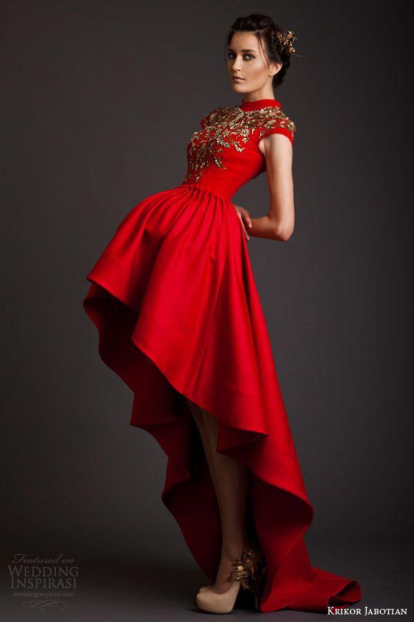high low prom dress red dress gold detail gold dress sleeves high collar dress christmas holidays red details wedding high low dress