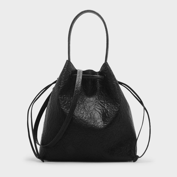 basic drawstring bag shoulder bag black