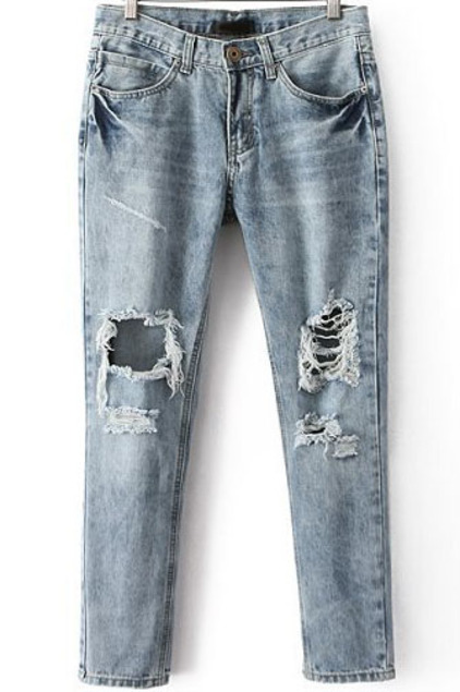 Pockets ripped denim pant