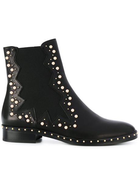 Marc Ellis studded women chelsea boots leather black shoes
