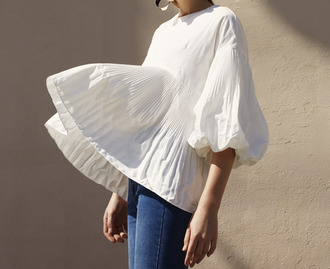 top tumblr white top puffed sleeves three-quarter sleeves peplum top peplum blue jeans jeans classy bell sleeves pleated