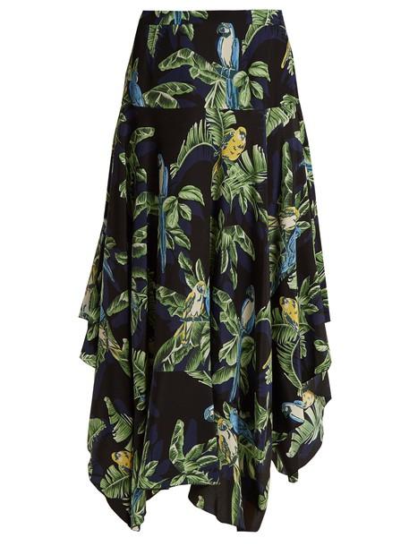Stella McCartney skirt midi skirt midi print silk black