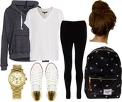 sweater,shorts,bag,jewels,t-shirt,jacket,backpack,shirt,bun,school bag,gold,converse,gold watch,leggings,black leggings,jeans,low rise jeans,black jeans,top,white,white shirt,basic,back to school,college,high school,hoodie,grey hoodie,grey sweater,outfit,fall outfits,school outfit,lazy day,hair accessory,black backpack