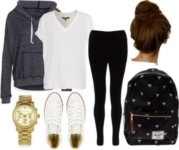 sweater shorts bag jewels t-shirt jacket backpack shirt bun school bag gold converse gold watch leggings black leggings jeans low rise jeans black jeans top white white shirt basic back to school college high school hoodie grey hoodie grey sweater outfit fall outfits school outfit lazy day hair accessory black backpack