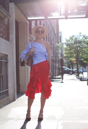 atlantic pacific,blogger,shoes,sunglasses,hat,bag,one shoulder,blue top,blouse,bell sleeves,red skirt,ruffle,asymmetrical,flats,asymmetrical skirt,ruffle skirt,summer outfits,brown bag,shoulder bag,cat eye,straw hat,pumps,pointed toe pumps,black pumps,red ruffle skirt