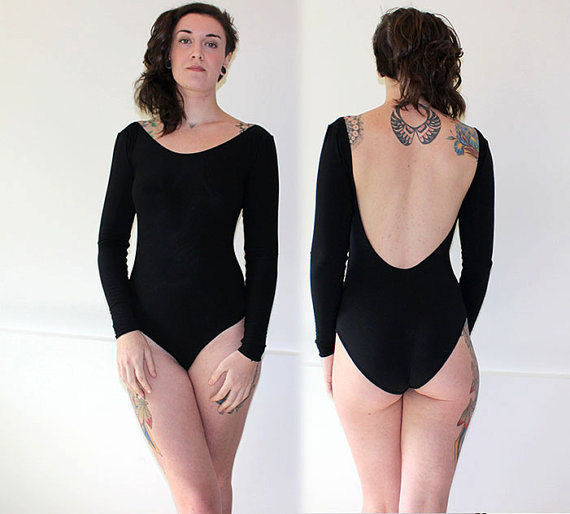 04d1316f4 Custom Bamboo Backless Long Sleeve Bodysuit Leotard  Any Size ...