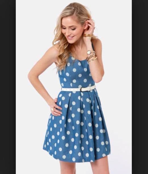 dress polka dots blue dress