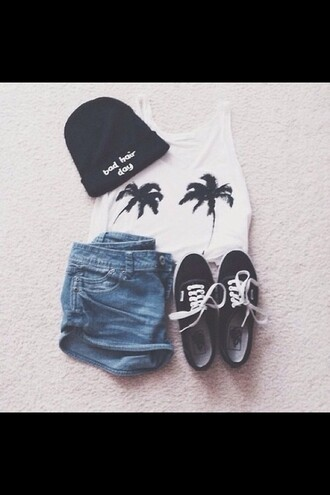 hat shoes palm trees black singlet blue white bad hair day hat shorts top