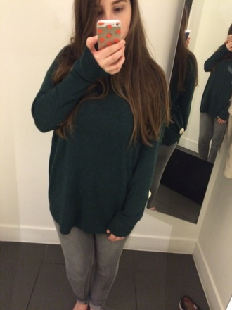 sweater green jumper jeans grey jeans pullover round neck forest green