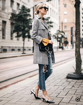 coat grey coat plaid coat tumblr plaid denim jeans blue jeans ripped jeans shoes slingbacks bag sunglasses