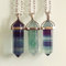 Fluorite gemstone wands / points necklaces - choose gem and chain - rainbow fluorite - green fluorite
