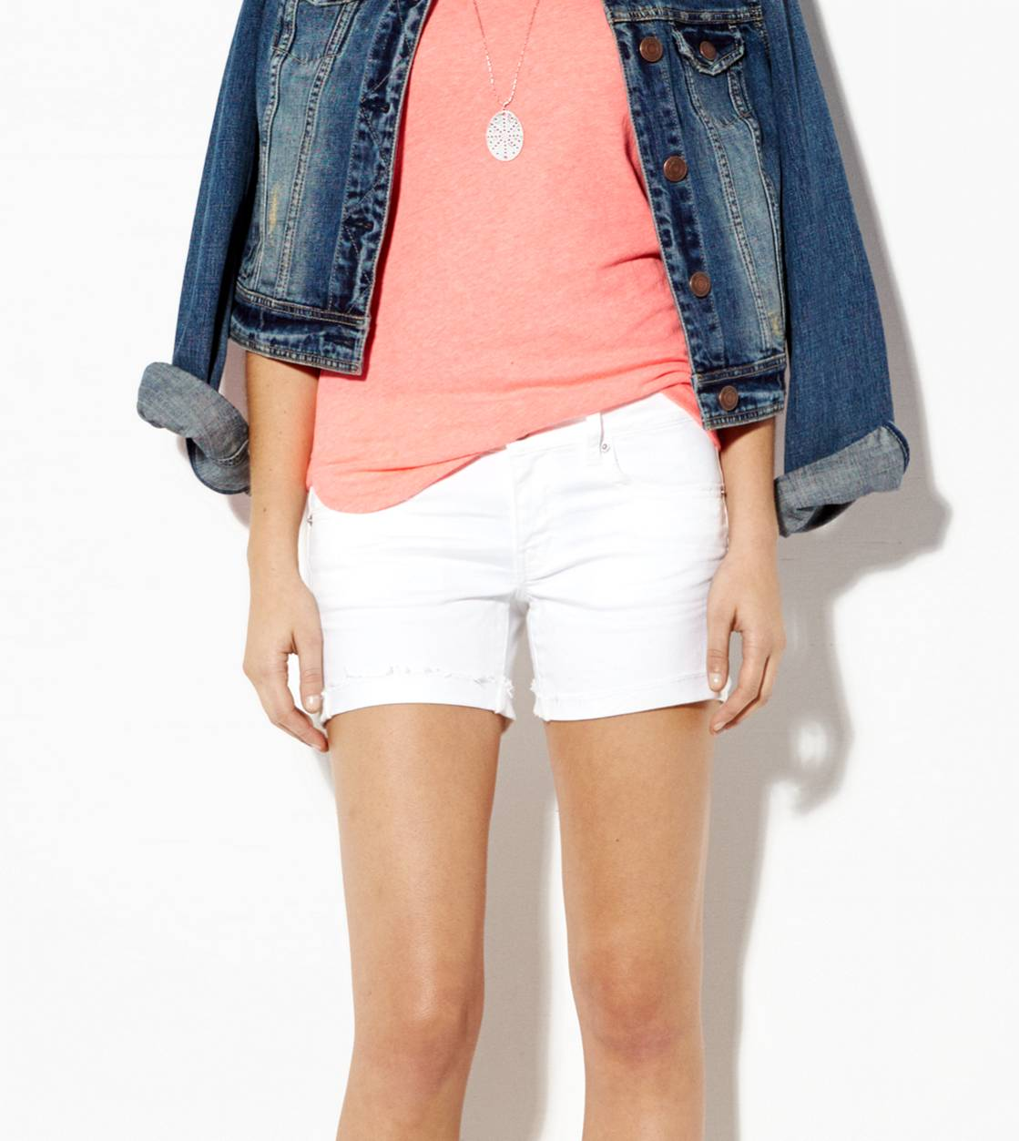 AE White Denim Midi Short, White  | American Eagle Outfitters