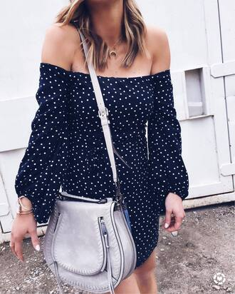 dress tumblr black dress polka dots mini dress puffed sleeves off the shoulder off the shoulder dress bag grey bag necklace gold necklace jewels jewelry gold jewelry spring dress spring outfits puff sleeve dress