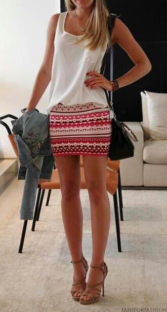 skirt white pink orange short skirt cute summer purse black jeans spring graduation high heels fashion cute outfits summer dress summer outfits tank top denim jacket shoes