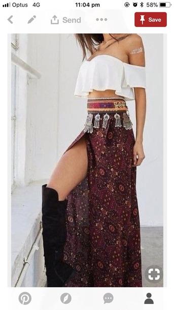 dress top skirt outfit crop tops long skirt coachella outfit coachella coachella top