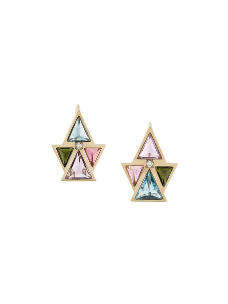 Noor Fares women earrings gold white grey metallic jewels