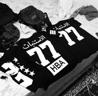 shirt zipper zip t-shirt hba hood by air arabic calligraphy hba hoodbyair vest menswear blvck 77 arabic