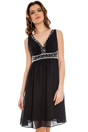 Cross Front Embellished Chiffon Prom Dress