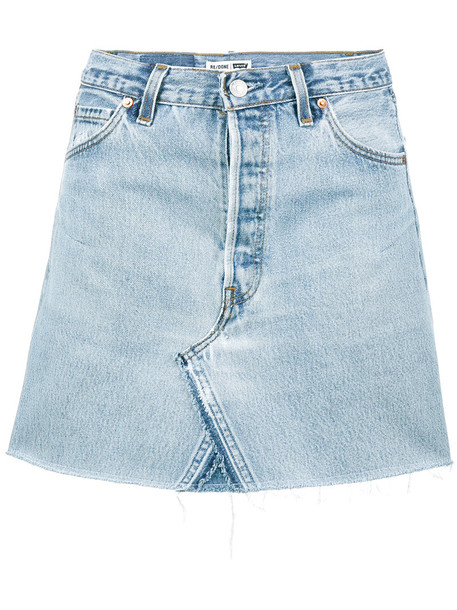 Re/Done skirt mini skirt denim mini high waisted high women cotton blue
