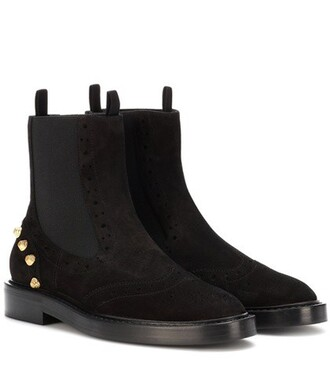embellished boots chelsea boots suede black shoes