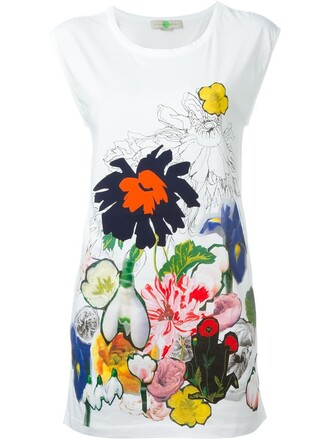 top floral print white