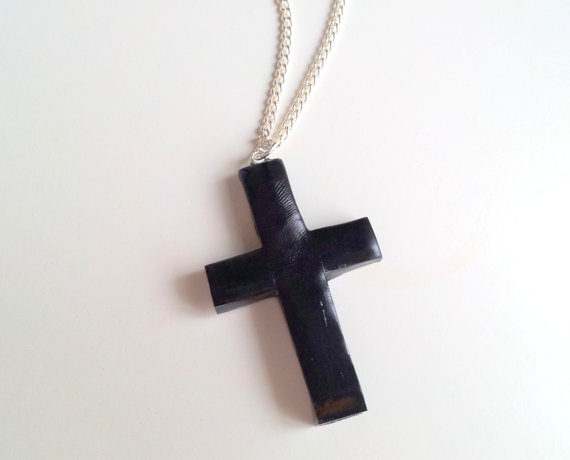 Sale black cross necklace by geeniejay on etsy