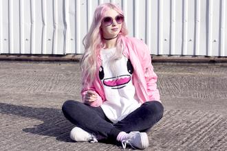 kayla hadlington blogger coat sweater jeans sunglasses pastel hair bomber jacket pink jacket pastel grunge