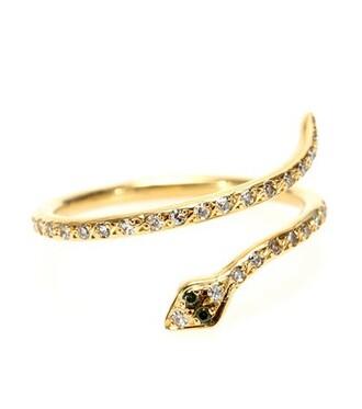 python diamonds ring gold white green jewels