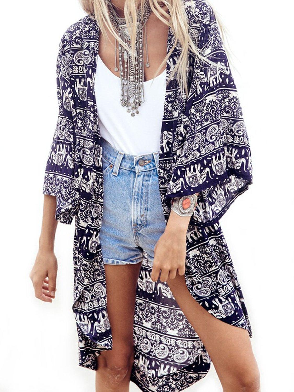 Women's Retro Elephant Pattern Sheer Loose Kimono Cardigan Blouse ...