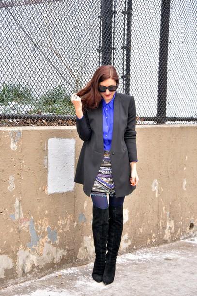 my style pill blogger skirt suede boots black boots blazer blue shirt