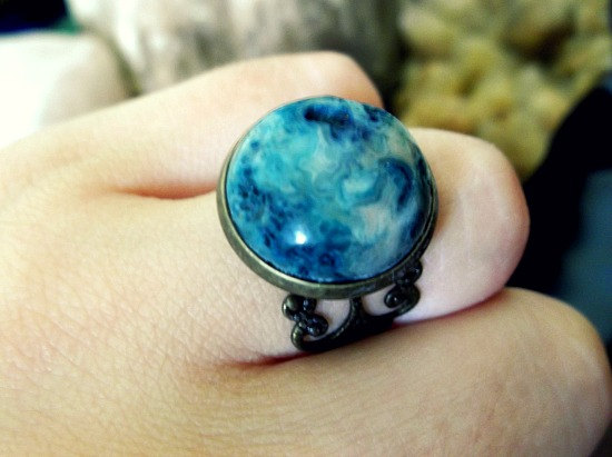 Ocean jasper brass filigree detail ring