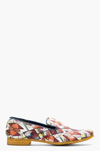 leaf print menswear burgundy yellow loafers casual shoes shoes
