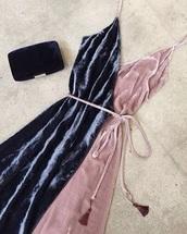 dress,velvet dress,wrap dress,strappy dress,blue dress,clutch,velvet slip dress,slip dress