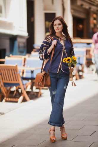 the bow-tie blogger blouse jeans shoes bag all blue outfit all navy blue outfit cropped flared jeans