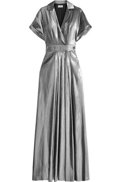 Temperley London - Lamé Wrap-effect Maxi Dress - Silver