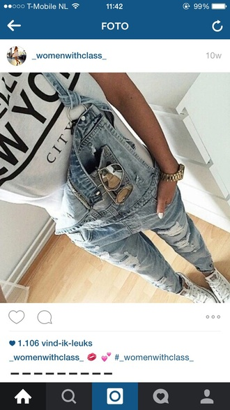 jumpsuit fashion on point clothing jeans blogger sunglasses shoes sneakers watch women denim shirt clothes