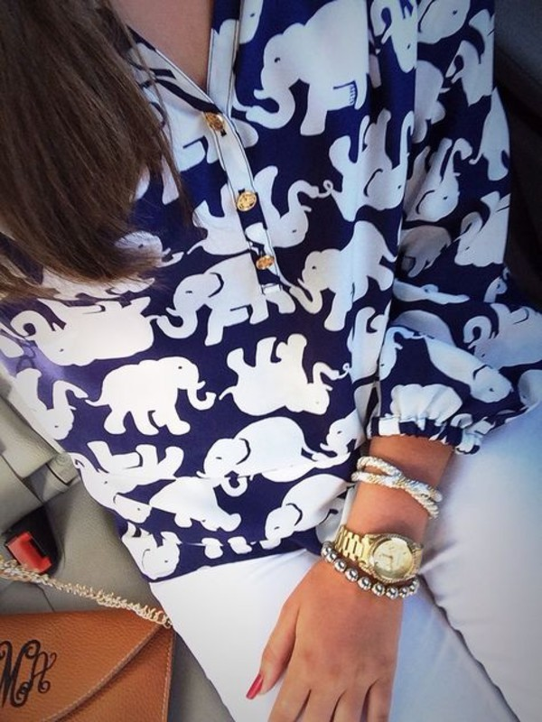 blouse cute animal print jewels elephant