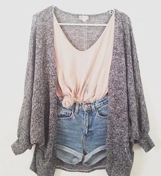 shorts cardigan grey denim sweater t-shirt cute jacket date outfit cuffed shorts knit jumper blouse cozy jacket shirt gray pink high waisted shorts tank top denim shorts light blue knitted cardigan heather grey high wasted jean shorts comfy