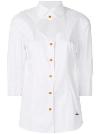 shirt heart cut-out women spandex white cotton top