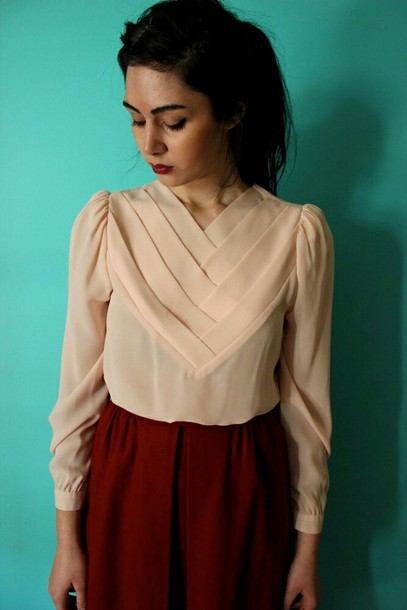 blouse cream blouse v neck