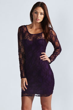 Samantha Long Sleeve Lace Bodycon Dress at boohoo.com
