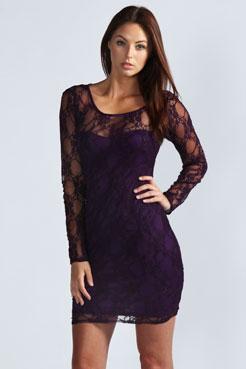 Samantha Long Sleeve Lace Bodycon Dress at boohoo.com