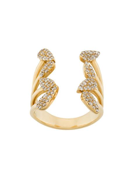 women embellished ring gold grey metallic jewels