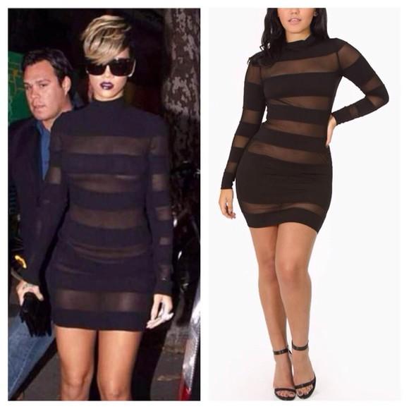 little black dress mesh dress see through dress fall dress fall dresses style fashion style rihanna style rih rih rih