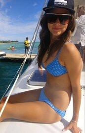 swimwear,blue,bikini,polka dots,white,cute,beach,tan,sunglasses,hat,boat