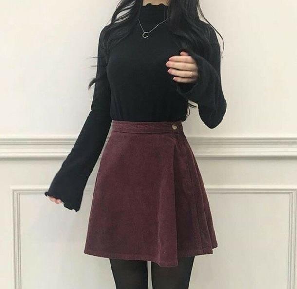 blouse black skirt sweater ruffle long sleeves