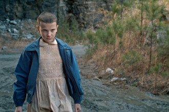 jacket stranger things blue jacket dress nude dress tv show millie bobby brown