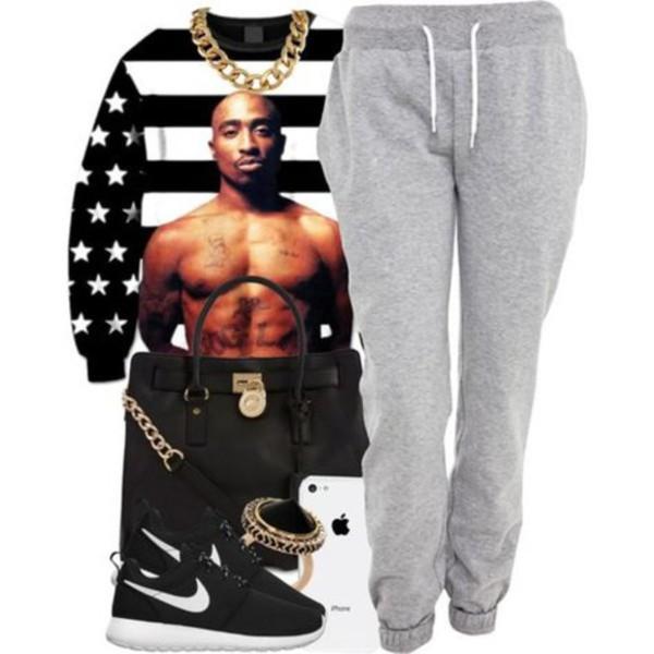 sweater sweatpants bag nike air force 1 kicks tupac dope swag jewels iphone pants bag american flag