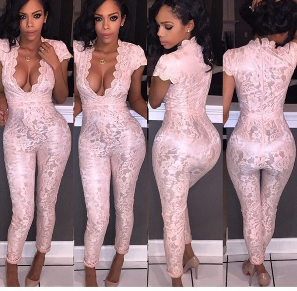 Pink Black Cap Sleeve Floral Lace Jumpsuits Rompers Full Length ...