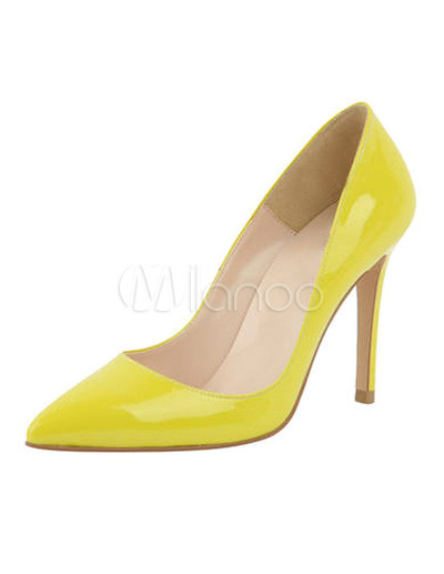 Charming Stiletto Heel PU Leather Pointy Toe Shoes  - Milanoo.com